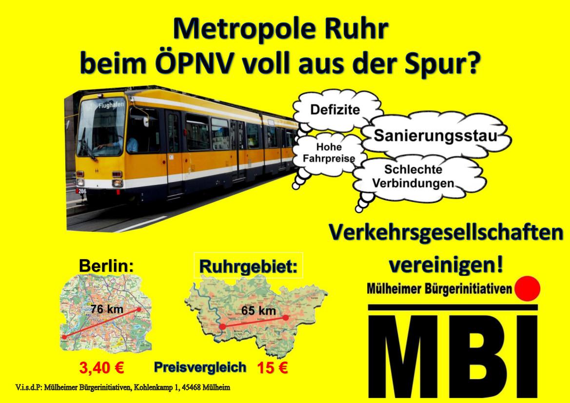 MBI-Wahlprüfsteine zur Ruhrgebietskrise, d.h. zu Kirchturmspolitik, ÖPNV-Krise und Mittelbehörden