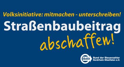 """Unterschreiben Sie u.a. im MBI-Büro für die Volksinitiative """"Straßenbaubeitrag abschaffen"""""""